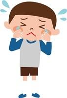 爪が剥がれて泣く子供
