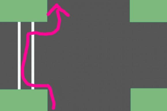 自転車横断帯の残っている交差点での自転車の進み方