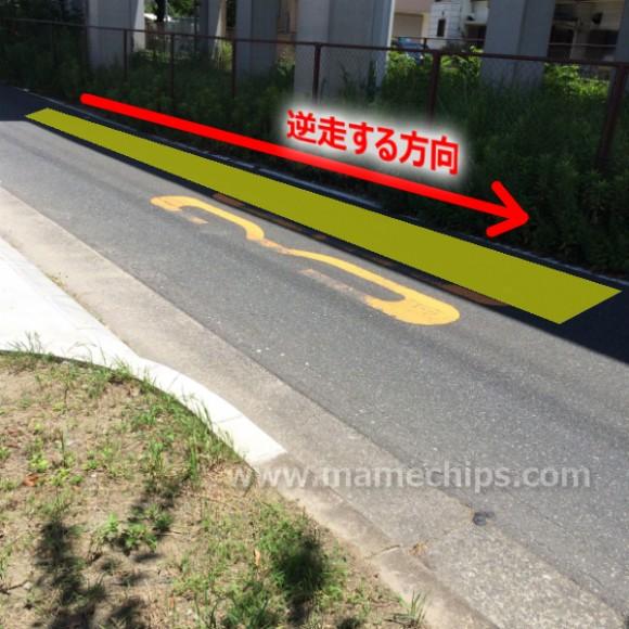 自転車が一方通行の逆走で走るところ